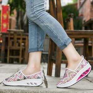 Print Slip On Sheer Sneakers - PINK AND WHITE 37