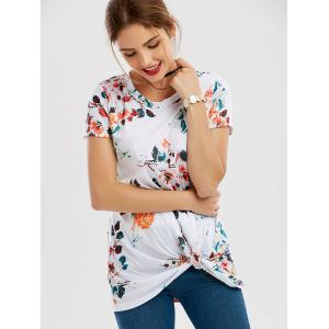 Floral Knotted T-Shirt - WHITE S