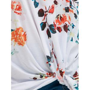 Floral Knotted T-Shirt - WHITE L