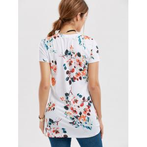 Floral Knotted T-Shirt - WHITE XL