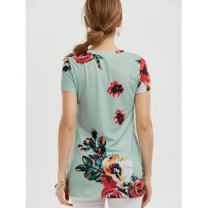 Floral Knotted T-Shirt - GREEN S