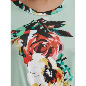 Floral Knotted T-Shirt - GREEN L