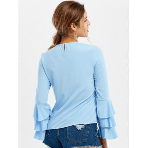 Ruffle Long Sleeve Top - LIGHT BLUE M
