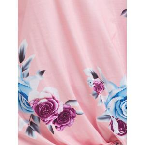 Floral Knotted T-Shirt - PINK L