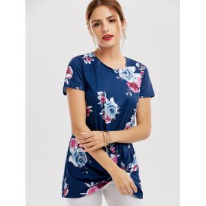 Floral Knotted T-Shirt - BLUE M
