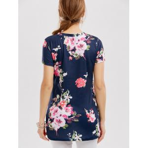 Floral Knotted T-Shirt - NAVY BLUE L