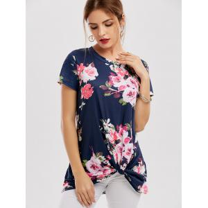 Floral Knotted T-Shirt - NAVY BLUE XL