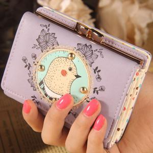 Tri Fold Cartoon Applique Wallet - Purple - 39