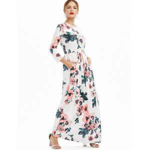 Pochettes Long Floral Print Maxi Dress - Blanc 2XL