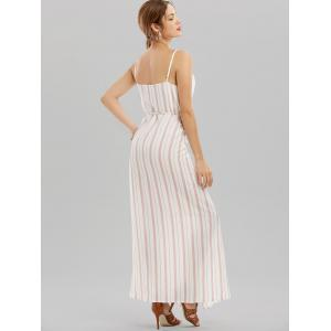 Cami Striped Backless Long Kimono Wrap Beach Dress - WHITE XL