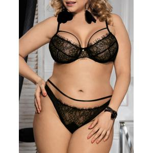 Lace Underwire Plus Size Balcony Bra Set - Black - 3xl