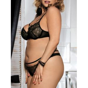 Lace Underwire Plus Size Balcony Bra Set -