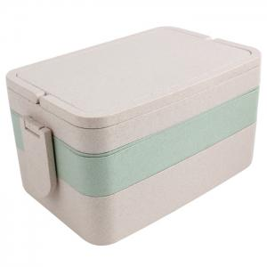 Wheat Straw Portable Large Capacity Three Layers Square Lunch Box - Green