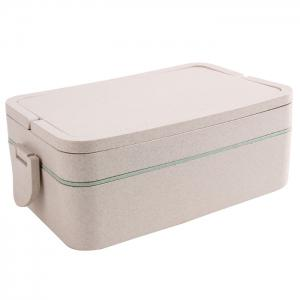 Wheat Straw Portable Double Layers Large Capacity Square Lunch Box - Green