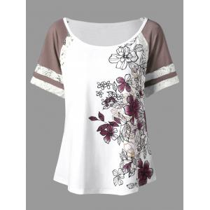 Floral Print Plus Size Scoop Casual T-shirt - White - 4xl