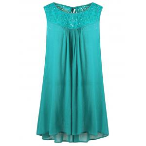 Plus Size Embroidered Trapeze Swing Dress - Blue Green - 4xl