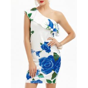 One Shoulder Flounce Rose Print Short Dress