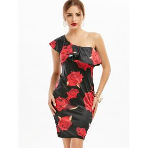 One Shoulder Flounce Rose Print Short Dress - RED S