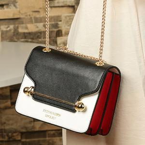 Chain Metal Bar Color Block Crossbody Bag - BLACK