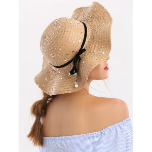 Sequin Detachable Ribbon Bowknot Straw Hat -