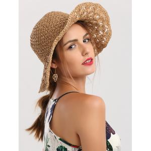 Crocheting Wide Brim Folded Straw Hat - Khaki - 5xl