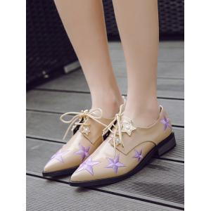 Star Pattern Embroidery Flat Shoes -