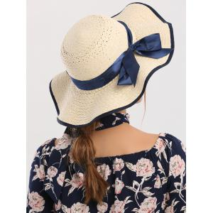 Wide Brim Ribbon Bowknot Woven Straw Hat - IVORY