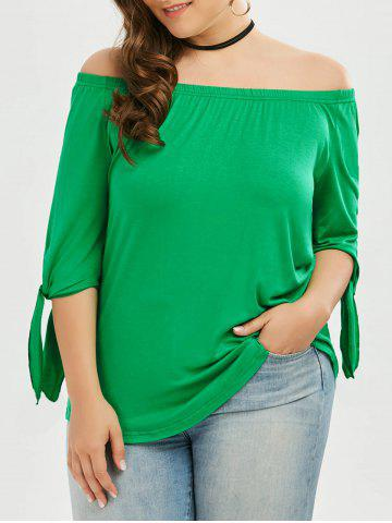 Store Plus Size Tied Sleeve Off The Shoulder Top - 2XL GREEN Mobile