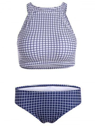 Affordable Skirted Plaid High Neck Tankini Bathing Suit - L BLUE Mobile