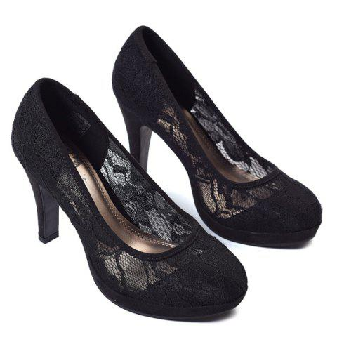 Store Chunky Heel Lace Sheer Pumps BLACK 38