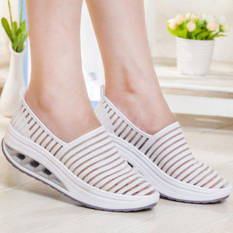 Slip On Breathable Sheer Sneakers - White - 37