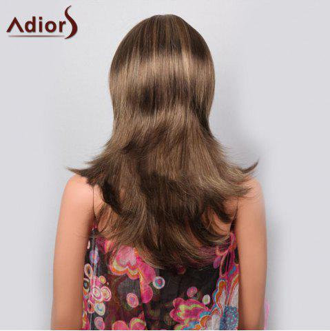 Chic Adiors Full Bang Highlight Tail Upwards Layered Long Straight Synthetic Wig - LIGHT BROWN  Mobile