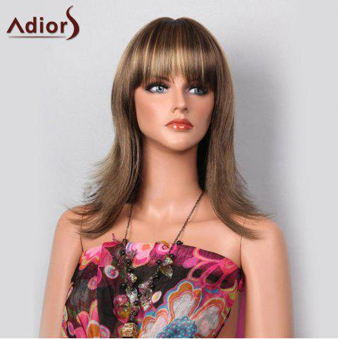 Outfit Adiors Full Bang Highlight Tail Upwards Layered Long Straight Synthetic Wig - LIGHT BROWN  Mobile