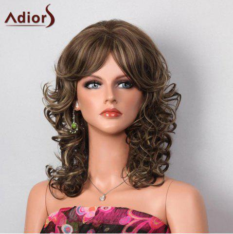 Chic Adiors Side Bang Highlight Shaggy Layered Medium Curly Synthetic Wig - COLORMIX  Mobile