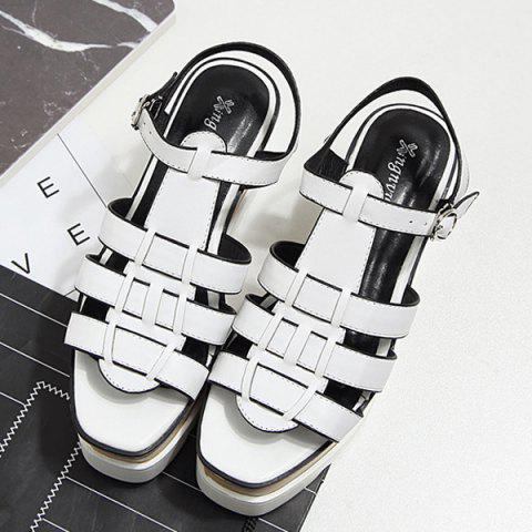 Fashion Platform T Bar Sandals - 38 WHITE Mobile