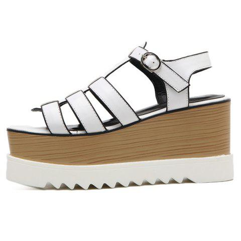 Online Platform T Bar Sandals - 38 WHITE Mobile