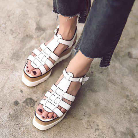 Unique Platform T Bar Sandals - 38 WHITE Mobile