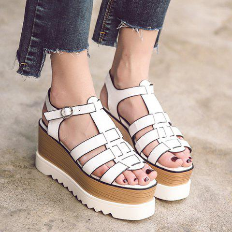 Affordable Platform T Bar Sandals - 38 WHITE Mobile