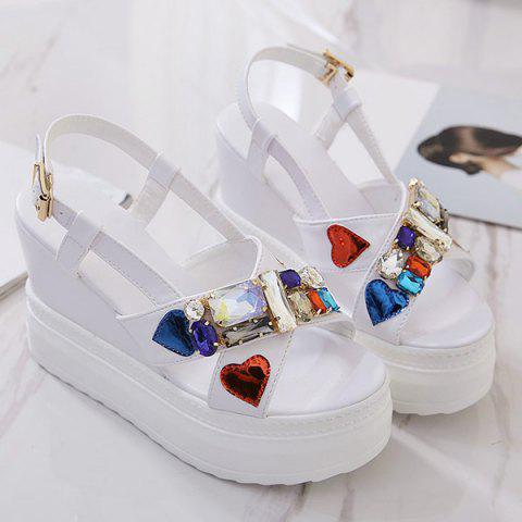 Latest Rhinestones Heart Pattern Sandals - 39 WHITE Mobile