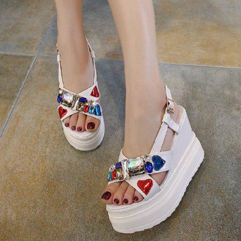 Sale Rhinestones Heart Pattern Sandals - 39 WHITE Mobile