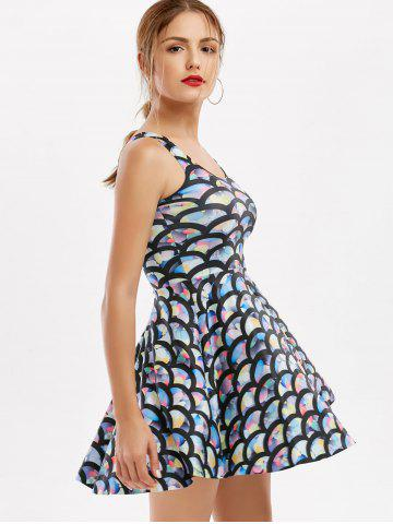 Discount Sleeveless Fish Scale Print Mermaid Mini Dress - ONE SIZE COLORFUL Mobile