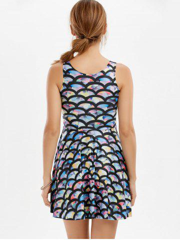 Outfits Sleeveless Fish Scale Print Mermaid Mini Dress - ONE SIZE COLORFUL Mobile
