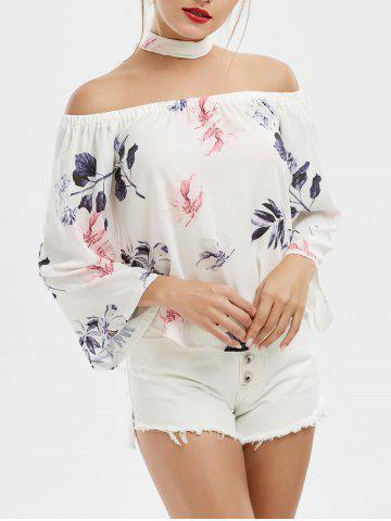 Outfit Off Shoulder Printed Chiffon Top PURPLE XL