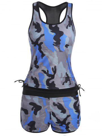 Fashion Sports High Waisted Camo Racerback Tankini Set - L BLUE Mobile