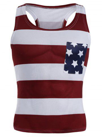 Chic American Flag Patriotic Muscle Tank Top COLORMIX M