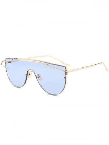 Outfit Shield Sunglasses with Metallic Long Crossbar - LIGHT BLUE  Mobile