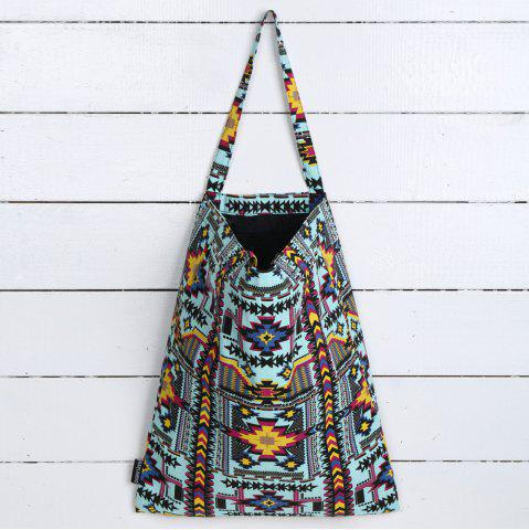 Best Canvas Ethnic Print Shopper Bag TURQUOISE