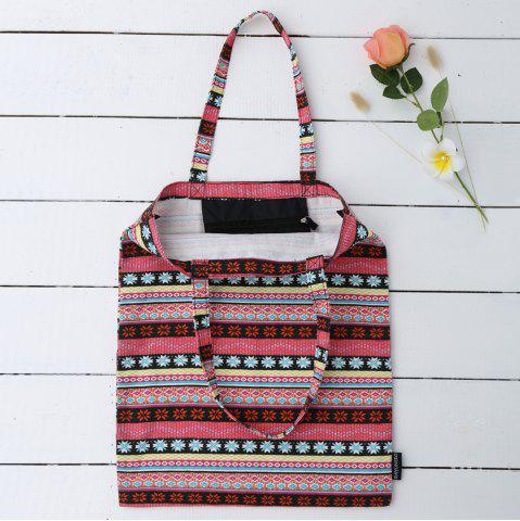 Chic Canvas Ethnic Print Shopper Bag - ROSE RED  Mobile