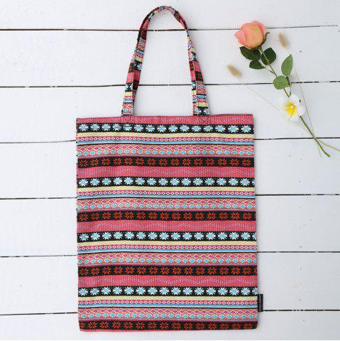 Outfit Canvas Ethnic Print Shopper Bag - ROSE RED  Mobile