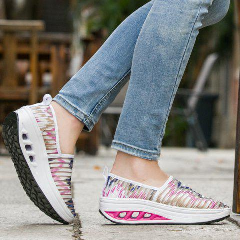 Buy Print Slip On Sheer Sneakers - 37 PINK AND WHITE Mobile